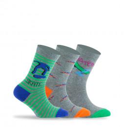 Pack de 3 paires de chaussettes thème Skate en coton
