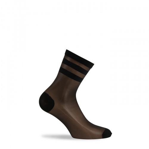 Socquettes rayures sur voile transparent