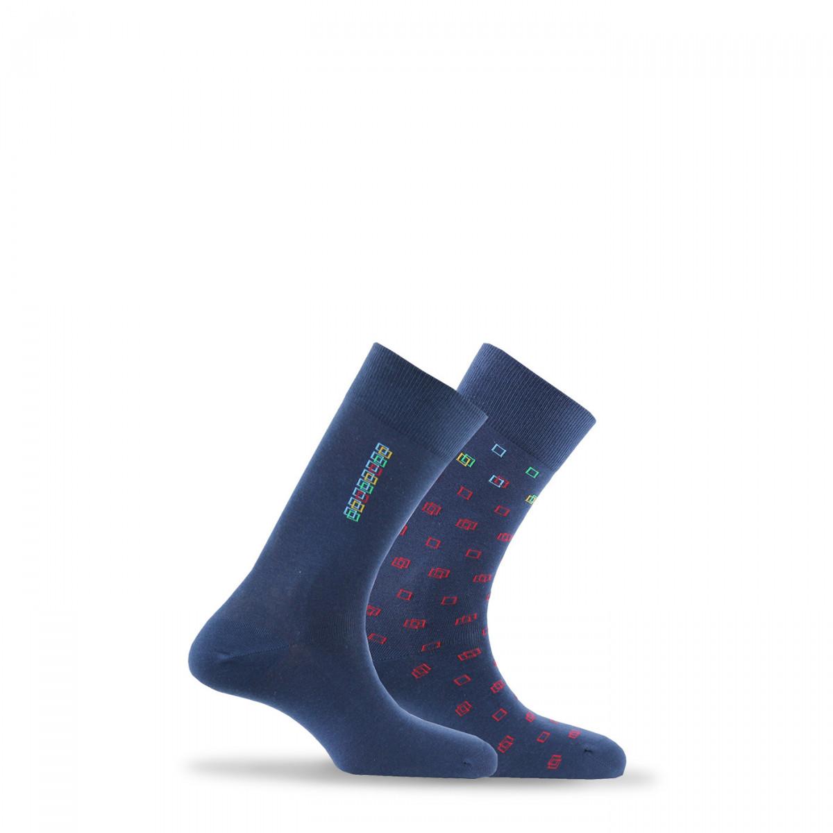 pas mal tout neuf sensation de confort Lot de 2 paires de chaussettes fantaisies en coton de fabrication française