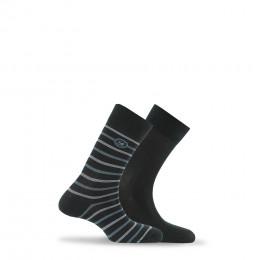 Lot de 2 paires de chaussettes rayées + unies en coton