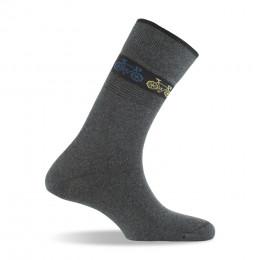 chaussettes homme en coton fantaisies gris